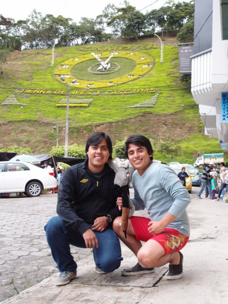 Andres Felipe & Emilio under the Zamora hillside clock.