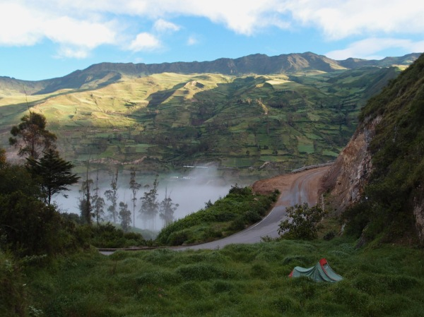 Morning view from my first roadside camp in Ecuador.
