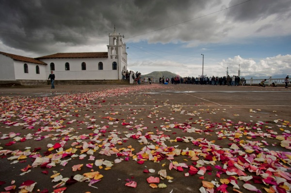 The Iglesia de Pichalo after the procession had left it's trail of flower petals. Note Mount Putzalahua in the background.