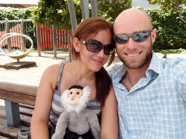 Fernanda, Tristan, and I relaxing in the Rodolfo Baquerizo Moreno Plaza.