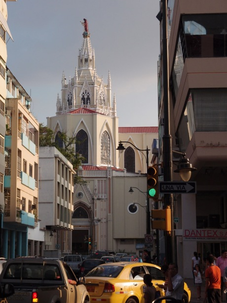 The Guayaquil Cathedral in evening light.