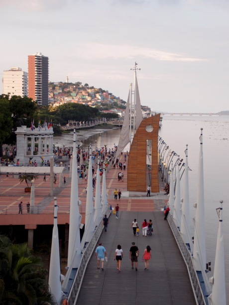 Looking upstream on the Malecón 2000 boardwalk, with Santa Ana Hill in the background.