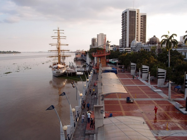 Looking down the Guayas River on the Malecón 2000 boardwalk.