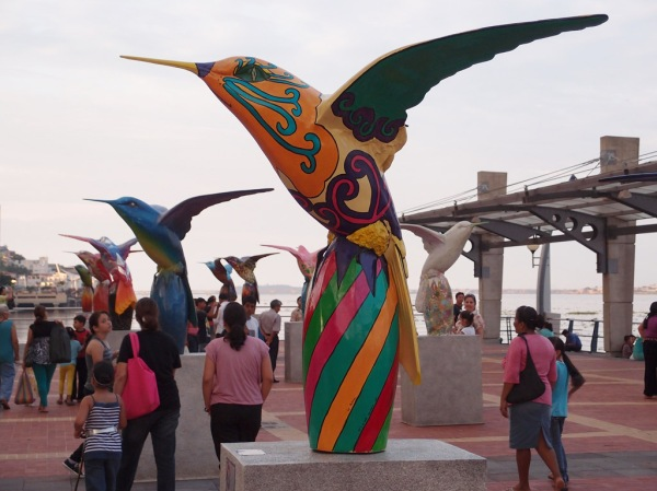 "A few of the hundreds of birds on display as part of a traveling Quito art exhibit entitled ""Jardín de Quindes""."