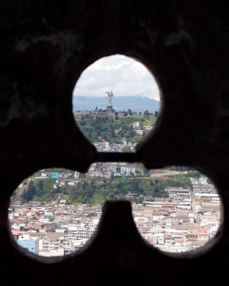 The Panecillo from within the clock tower.
