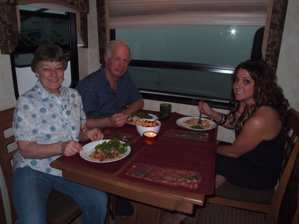 Mom, Dad, and my niece Crystal enjoying some non-hospital-cafeteria food in the camper.