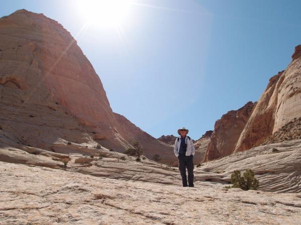 Indiana Jones roaming the slickrock in Capitol Gorge.