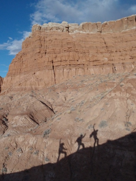 These three shadow creatures waved at us all the way up the ridge.