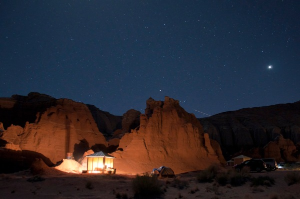 The Goblin Valley Campground under a beautiful night sky, shooting stars and all.