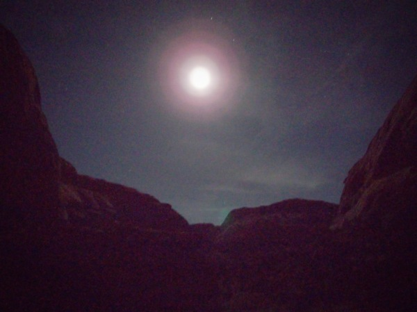 Heading into the moonlit canyon.