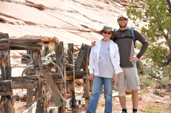 Mom and I next to the the remains of a cattle watering hole at Neck Springs.