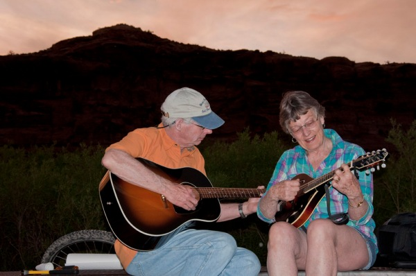 Mom and Dad rock out on the banks of the Colorado River.