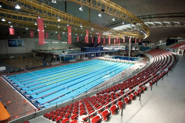 Inside the arena is the still used (though strangely empty) swimming pool.