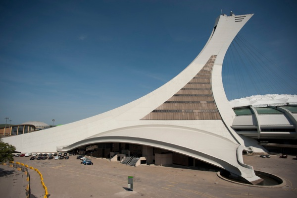 The platypus-like tower of the Montreal Olympic Stadium, built for the 1976 Summer Olympics, is to this day the largest inclined-tower in the world at 574ft (175m).