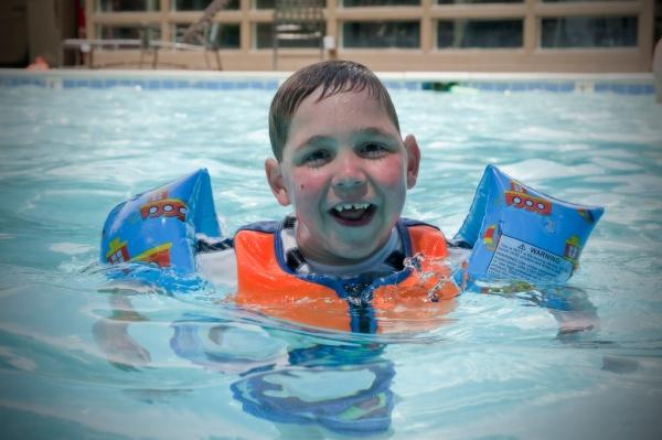 ...the pool! Tayt - half ladies man, half fish.