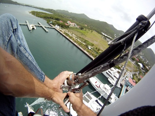 Like in the BVI's but this time with a real harness and 100ft up! Re-attaching the jib halyard and giving the mast and standing rigging a thorough pre-passage inspection.
