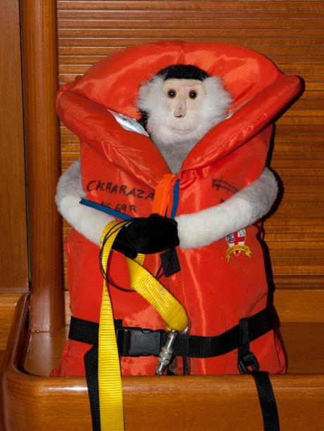 Tristan making sure he'll float if he falls overboard.