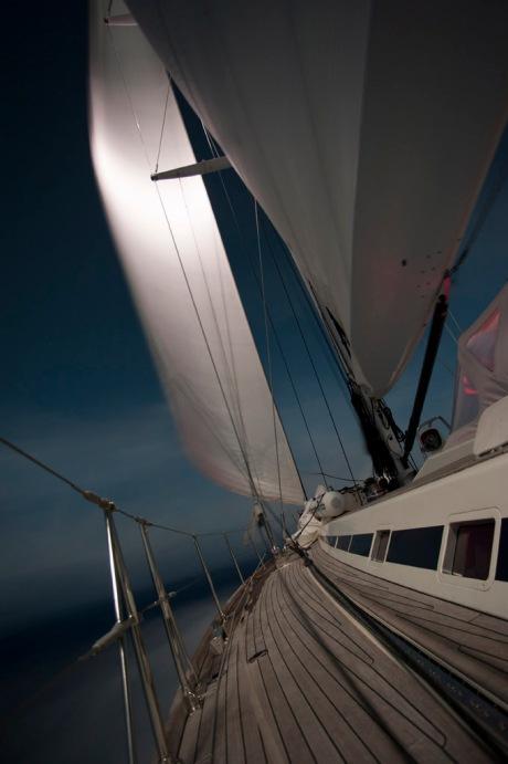 Reaching along at 10 knots through the night.