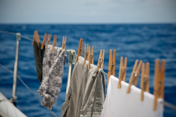 Not even at sea can you escape the chores of laundry.