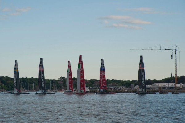 The America's Cup catamarans assembled for races in Newport.