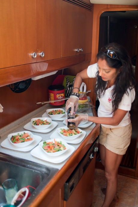 Lia showing off her chef skills with the start of another four course dinner.