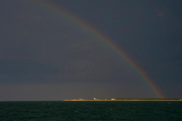 A rainbow over Martha's Vineyard after an evening rain squall.