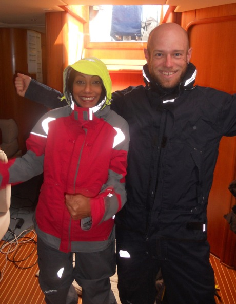Lia and I making sure we look fashionable in our foul weather gear.