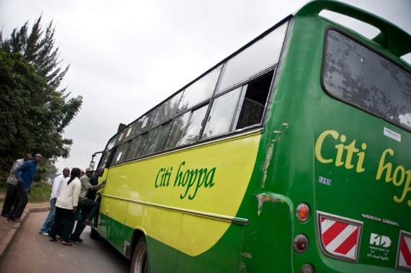 Catching a city bus into the heart of Nairobi.