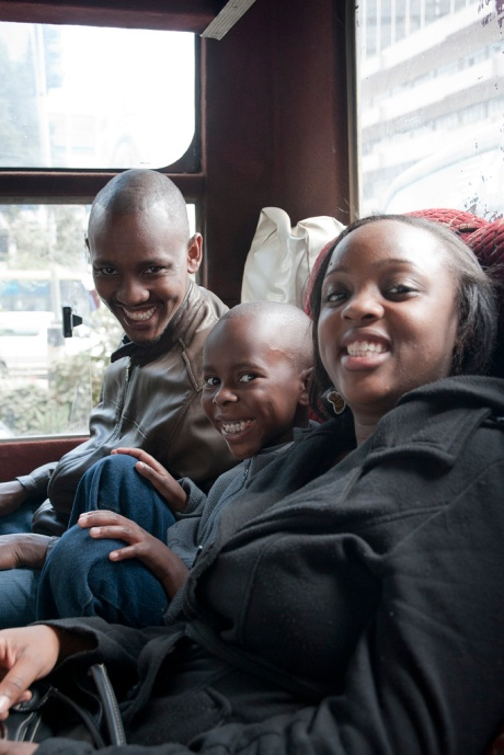 Brian, Freddy (Brian's son), Christine and I still laughing about continuing on our merry way after rear ending another bus.