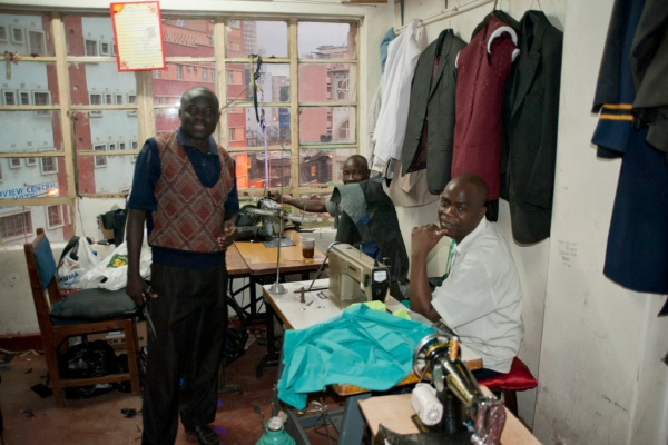 At the tailor where Brian and all the groomsmen had our fitted suits made.