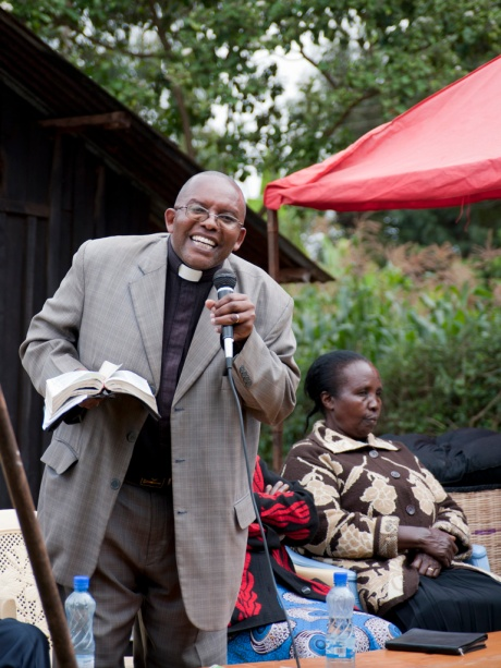 One of the village pastors welcomes Brian and his family into their community.