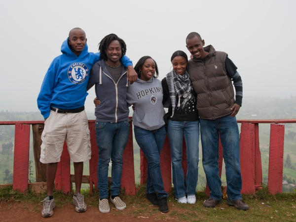Ben, Victor, Christine, Eve, and Brian pose above the fogged in Rift Valley.