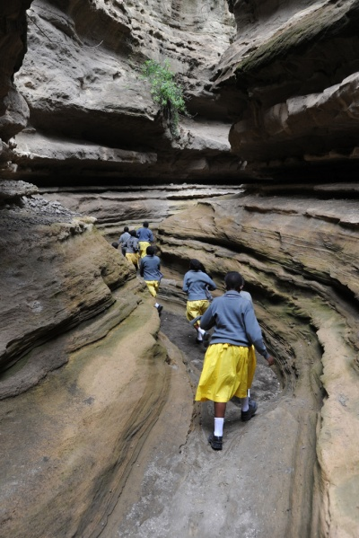 School kids on a field trip through the gorge. Composite image.