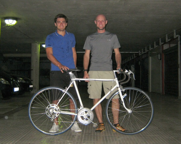 Jurica and I pose with the bicycle I've just adopted. - Živio moj bicikl!
