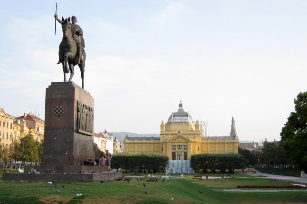The Art Pavilion facing the Zagreb train station.