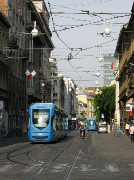 Riding the tram from the airport into downtown Zagreb, Croatia.