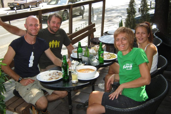 Lunch with new friends Goran, Darinka, and Tamina of the Moj Bicikl Bike Info Center.