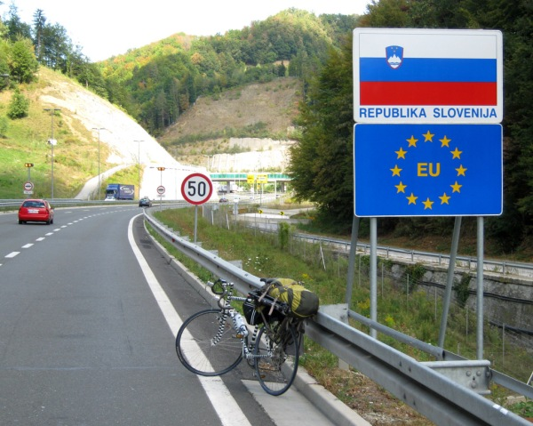 First international border crossing by bicycle. Welcome to Slovenia!