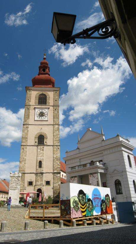 The town square in Ptuj, Slovenia.