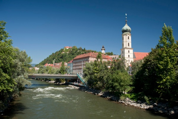 The Mur River runs through Graz, Austria as it descends from the Alps.