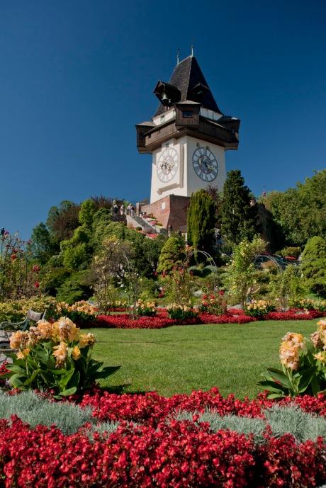 The Graz Clocktower on the summit of Grazer Schloßberg.