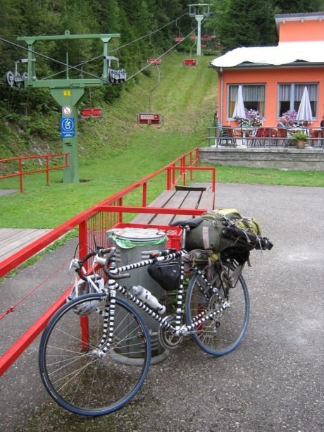 Stopping to check out the chairlifts at the Aflenz Kurort ski area.