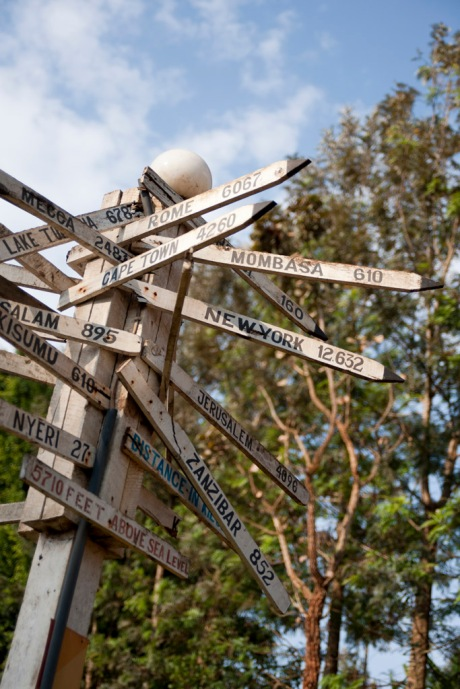 The world awaits - a signpost at Wachira's resort.