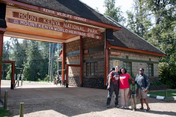 Eugenia, Maito, Freddy, and Barbra at the start of our hike on the slopes of Mt. Kenya.