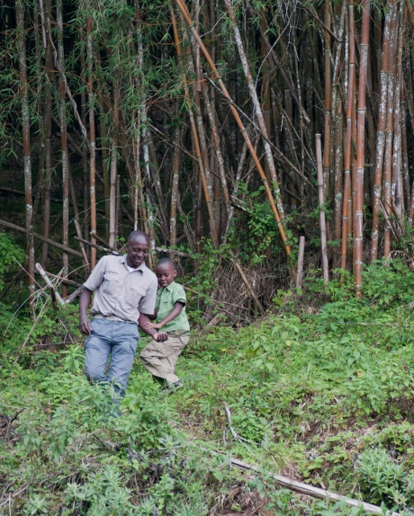 Njenga and Freddy bushwhacking in a bamboo stand.