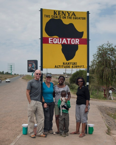 At the equator in Nanyuki with Eugenia, Barbra, Freddy, Maito and Tristan. Five months earlier and a third of the way around the world Tristan and I were on this same imaginary line at Mitad del Mundo, Ecuador. I suppose it's a small world after all!