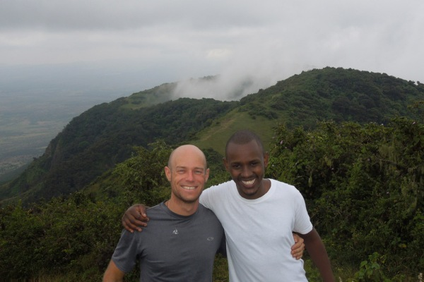 Brian and Mwangi (my given Kikuyu name) after running to the summit of Ngong Hills.