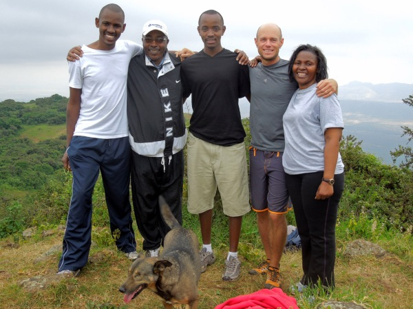 Brian, Gatahi, Ben, Maito and I atop the Ngong Hills.