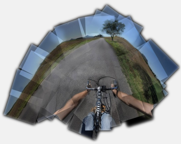 The view from the cockpit, a collage of over a hundred photographs taken while riding toward Lake Balaton.
