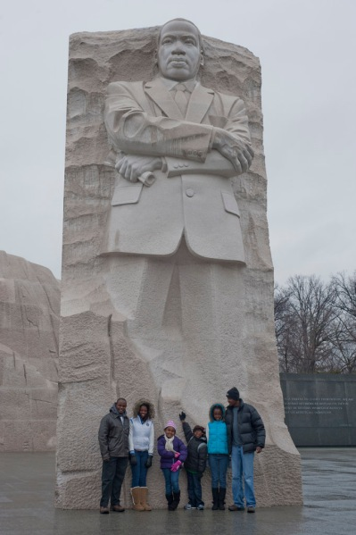 Uncle Gikiri, Wangiru, Coco, Freddy, Kabi and Brian at the MLK Memorial.